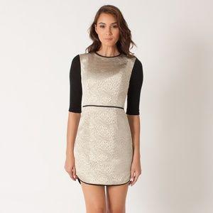 $300 Black Halo Savona Metallic 3/4 Sleeve Dress